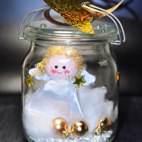 Engel Engelchen Glas Weckglas Einmachglas alt Weihnachten basteln Foto Brigitte Stolle