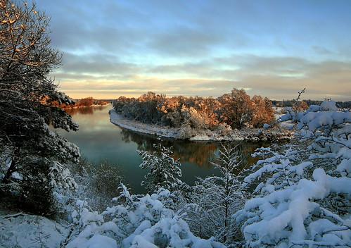 winter snow sunrise canon river landscape scenery drohiczyn cesarz marcelxyz
