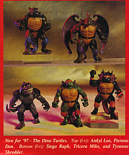 "ACTION FIGURE NEWS & TOY REVIEW : ""PLAYMATES TREKS ON INTO 1997"" pg.7 / .. DINO TMNT (( 1997 ))"