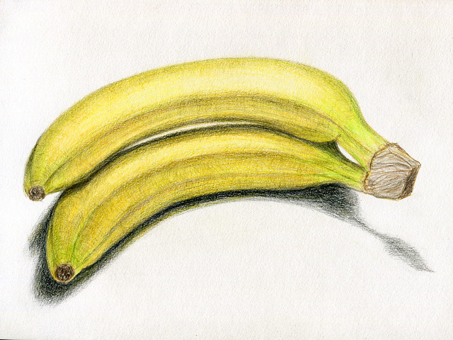 bananas. color pencils. A4