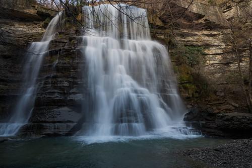 winter river waterfalls