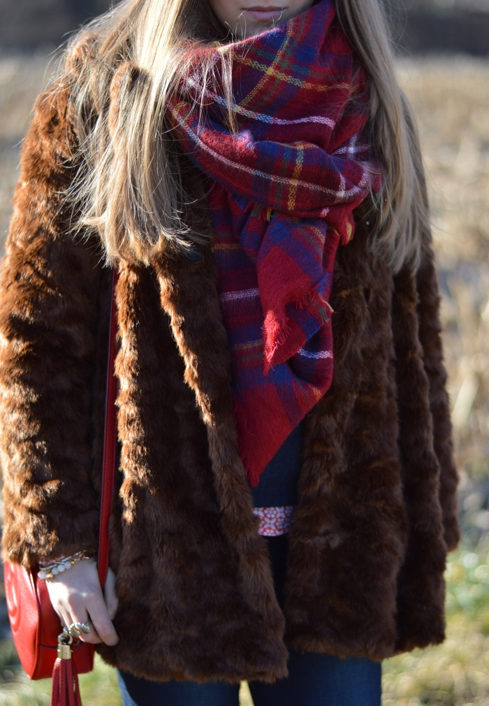 pellicciotto, faux fur, Zara, outfit, look, Benetton, Gucci, disco bag, wildflower girl (7)