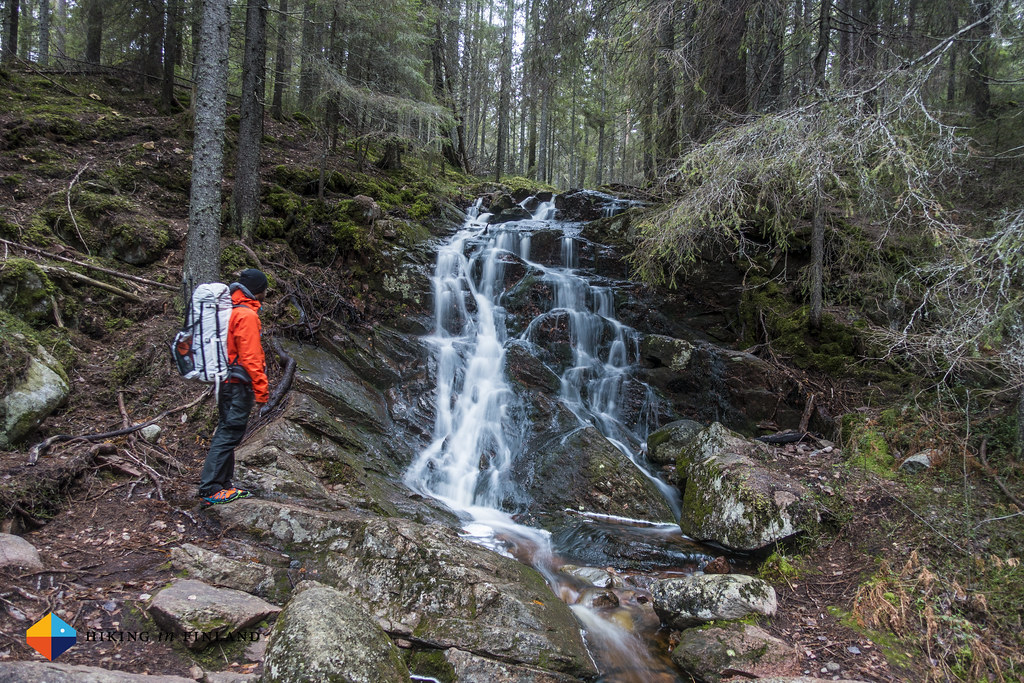 Checking out the small waterfall, Skuleberget National Park
