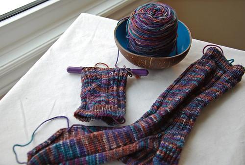 Irieknit Ampersand socks in Indigodragonfly handdyed merino yarn
