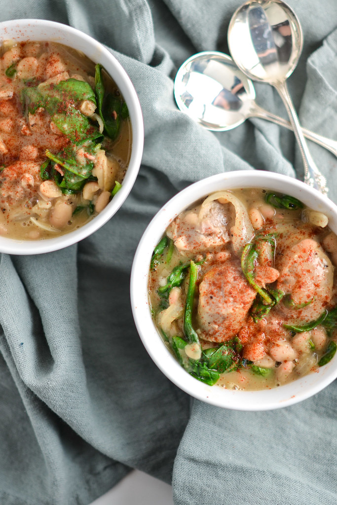 sausage, spinach, and white bean stew   things i made today
