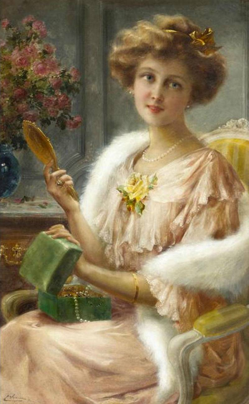 A young lady with a mirror by Emile Vernon, Date unknown