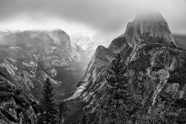 Taking in a Majestic View at Glacier Point (Black & White, Yosemite National Park)
