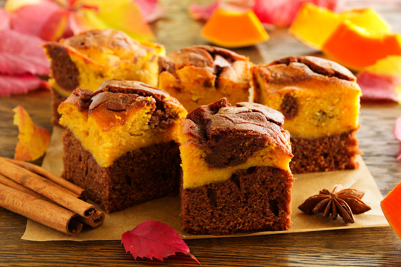 Brownie with pumpkin and chocolate.