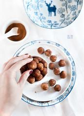 Homemade vegan marzipan truffles with cinnamon