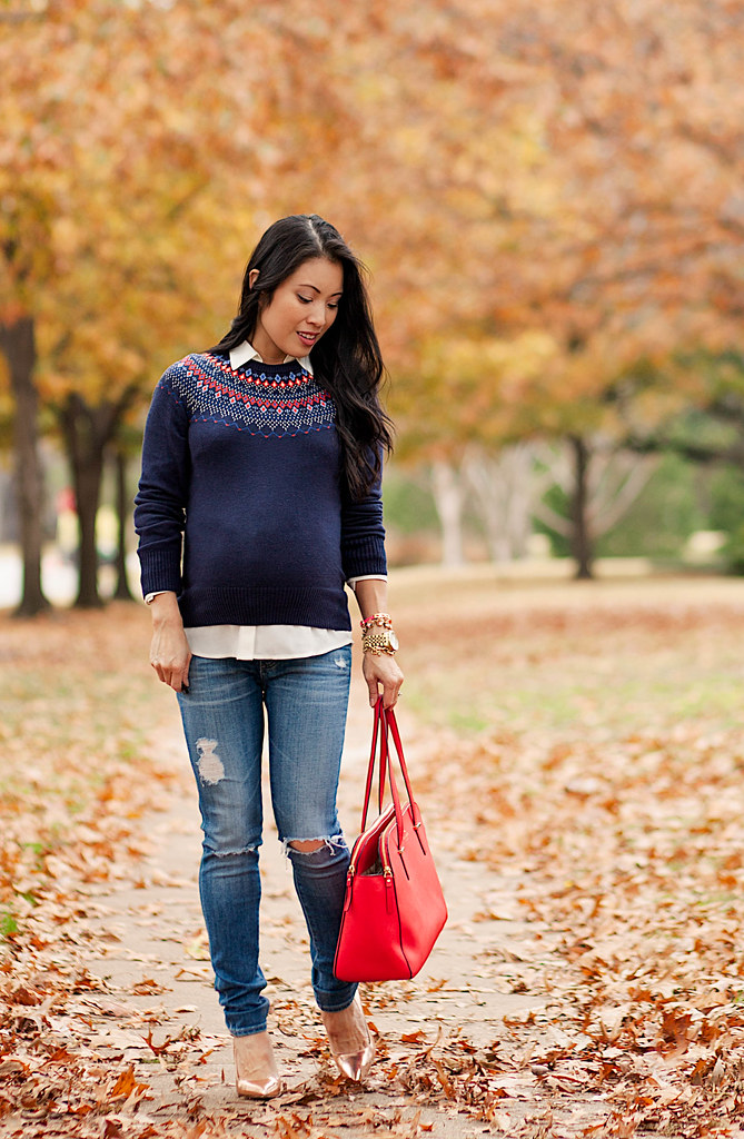 cute & little blog | petite fashion blog #maternity #bumpstyle | fair isle navy sweater, white button down blouse, distressed skinny jeans, kate spade rose gold pumps, kate spade red tote bag | fall winter layered outfit