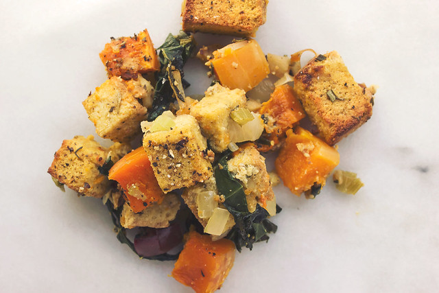 Roasted Butternut Squash, Apple and Leek Bread Stuffing with Collard Greens (Grain-free Option)