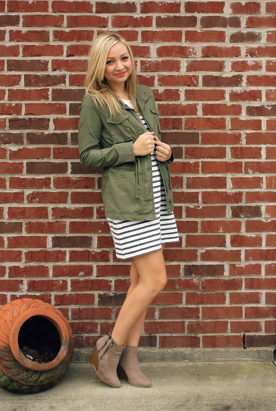 military jacket and striped dress