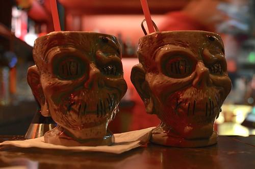 A pair of shrunken zombie heads