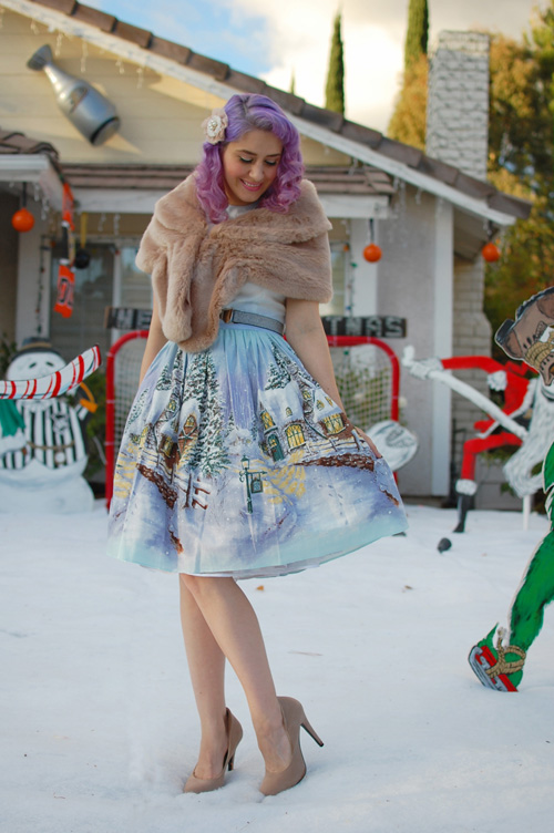 Bernie Dexter Osterley dress in Winter Wonderland print 011