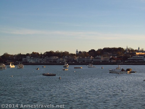 Boats in Plymouth Harbor as seen from the Plymouth Jetty, Plymouth, MA