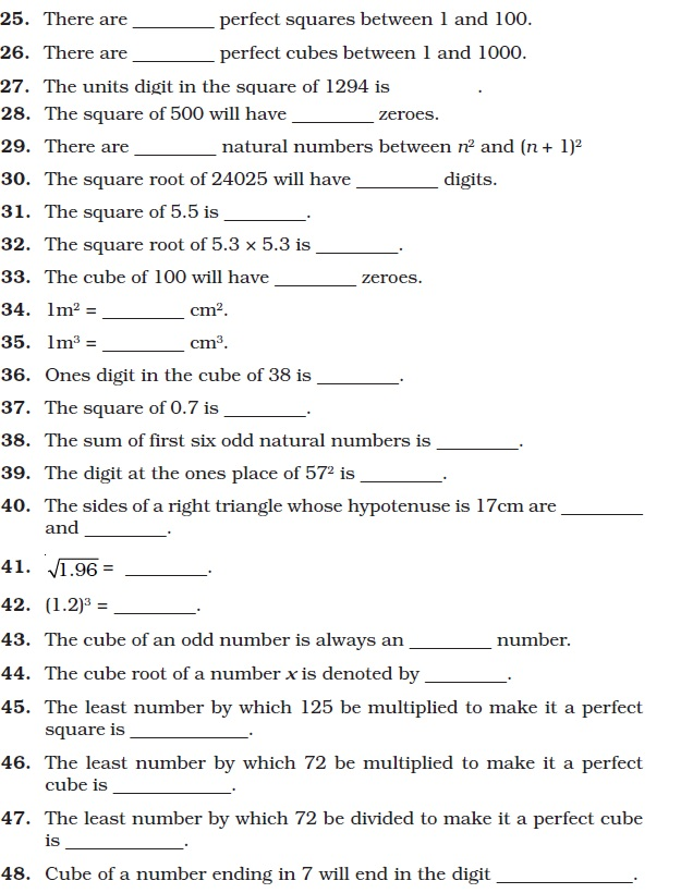 Class 8 Important Questions for Maths SquareSquare Root and – Square Root and Cube Root Worksheet