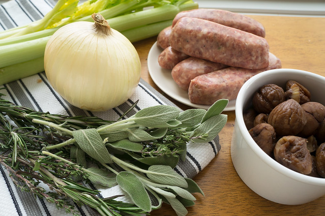sausage, onions, celery, herbs, chestnuts
