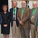 Wilmington University's first Professor Emeritus Award recipients (from left) Dr. Tish Gallagher, (Dr. LaVerne Harmon, who presented the awards), Dr. Ronald Watts, Mr. Mickey Turnbo, Dr. John Szczechowski and Dr. Barbara Raestsch.