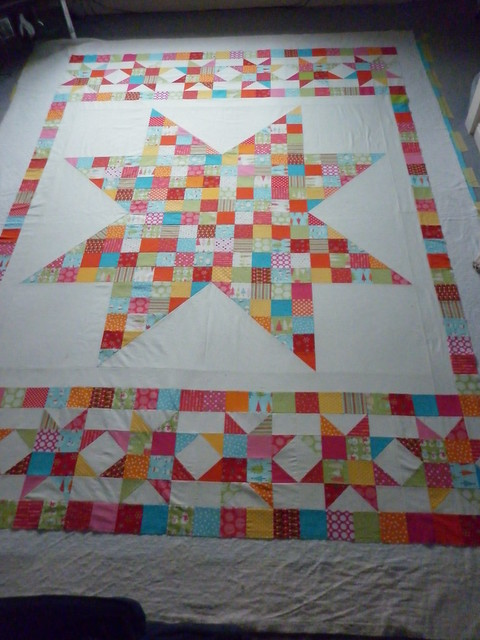 Christmas Cherry quilt layers, about to be tacked