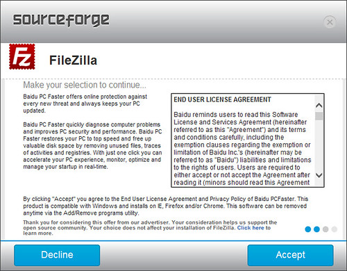 อ่านดีๆ จะรู้ว่าปุ่ม Accept ตรงนี้ ไม่ได้เกี่ยวข้องกับการติดตั้ง FileZilla แต่อย่างใด