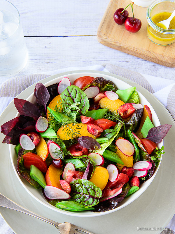 Summer Salad Series #1 - Radishes, Beans, Nectarines & Cherries