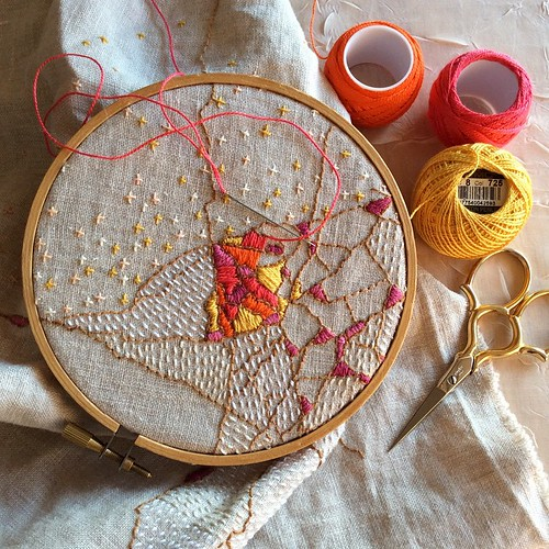 Bright colors for a bright new year. Happy 2015, everyone! #embroidery #dailypractice #dailyembroidery #bonniesennott