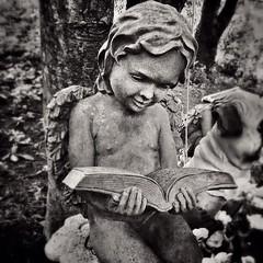 Angel reading! #angel #statue #blackandwhite #blackandwhitephotography @eduardontavares