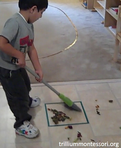 Sweeping Activity (Photo from Trillium Montessori)