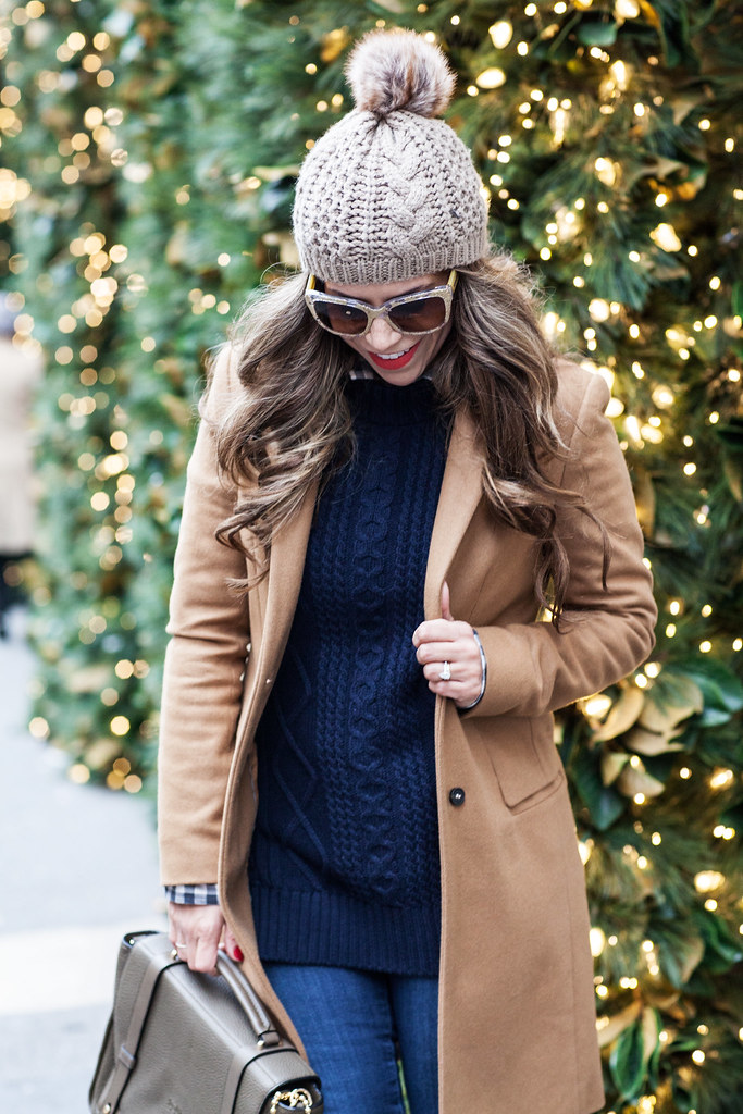 Banana Republic Sweater Banana Republic Checkered Shirt Coach Handbag Kate Spade Boots Zara Coat AG Denim Dolce & Gabbana Gold Lace Sunglasses fashion blogger nyc fashion blogger what to wear in the winter casual winter