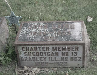 Wildwood Cemetery-Sheboygan-Laing-John-Charter member Sheboygan No 13