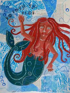 Week 4 - Acrylic on Collage - Courage