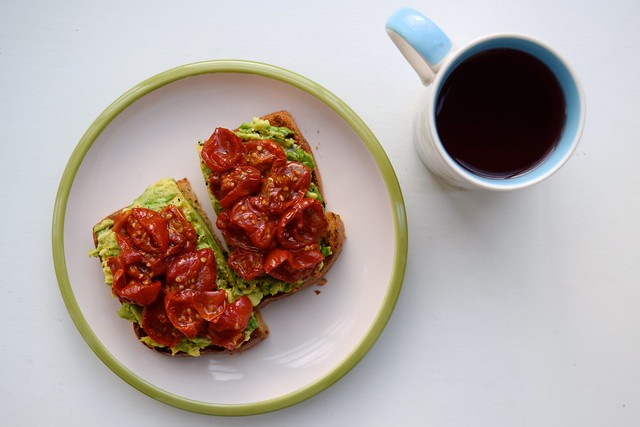 Slow Roasted Cherry Tomato Avocado Toast & Rhubarb Tea