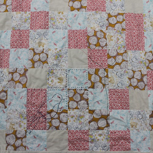 Forest Woodlands Baby Quilt Hand Quilting
