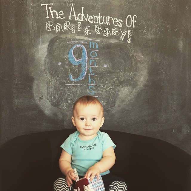 This month in #BartleBaby news - little man is 9 months old! He had his we'll check this morning and is in the 50th percentile for weight (21lbs) but the 95th percentile for height (30in)! No wonder he wears 18 mo clothes! Our little peanut loves crawling
