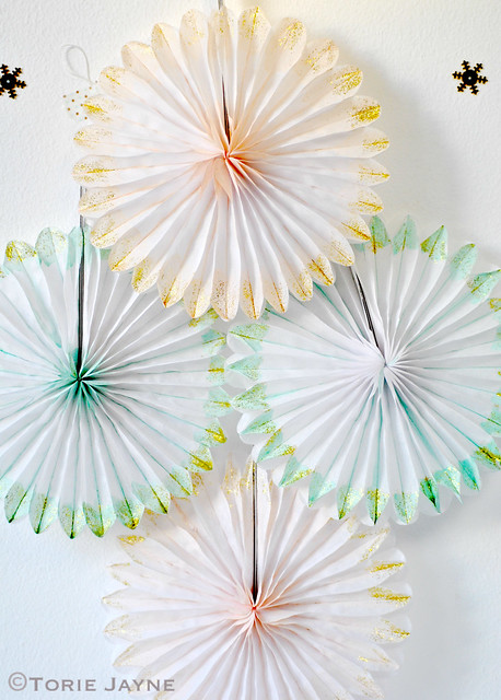 Hand painted and glittered paper fans