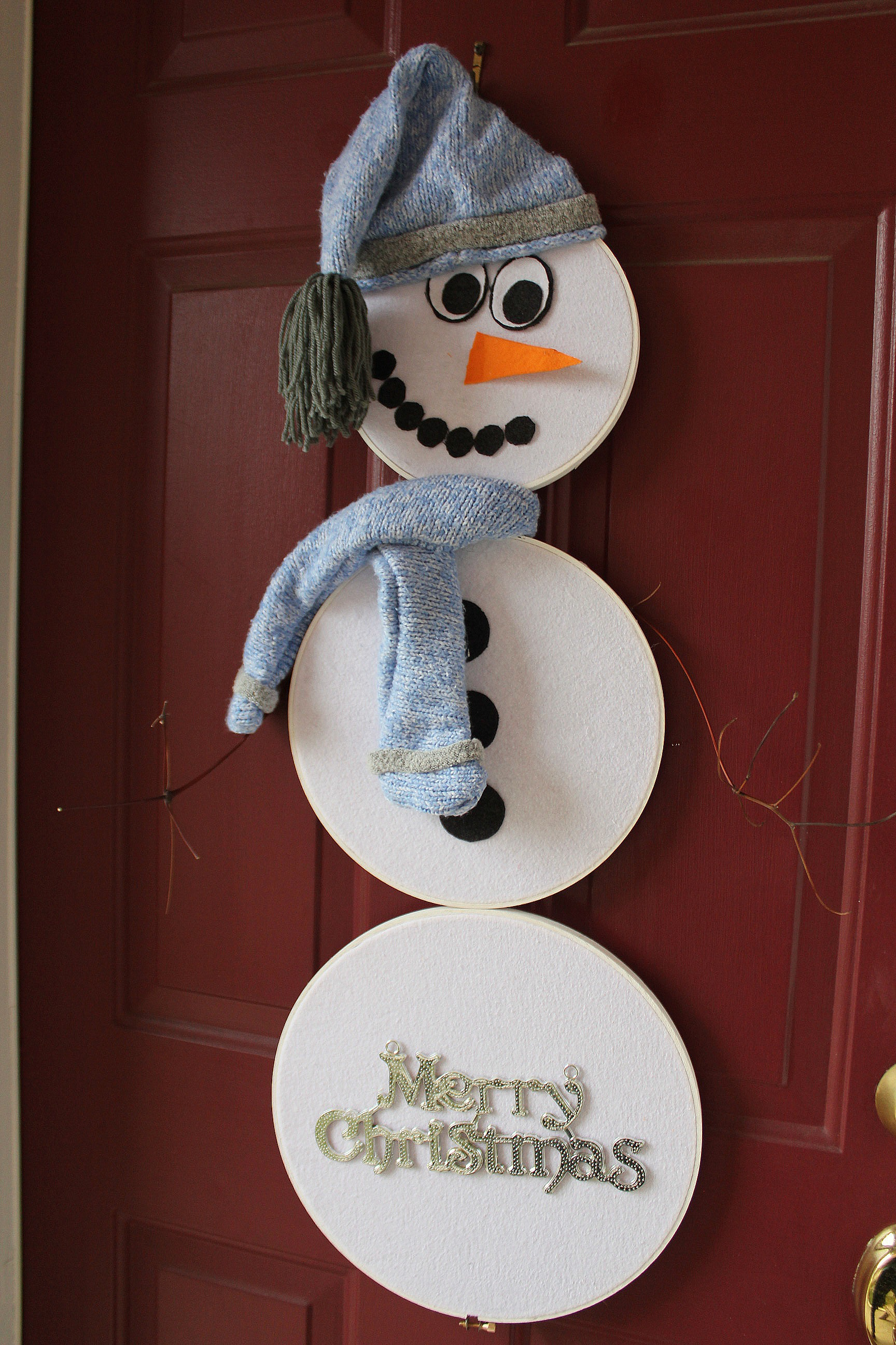 Embroidery Hoop Snowman Door Hanging