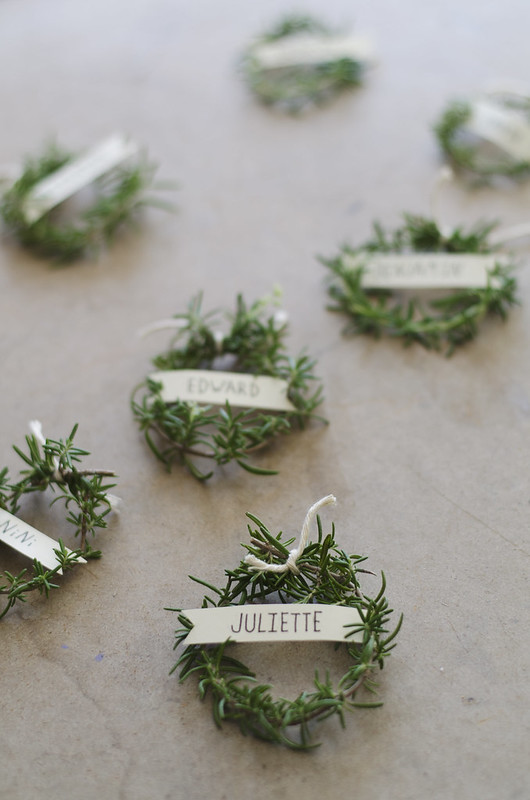 Rosemary Wreath Place Setting at juliettelaura.blogspot.com