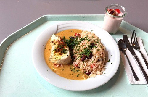 Coalfish filet caribbean style with bean rice / Seelachsfilet auf karibische Art mit Bohnenreis