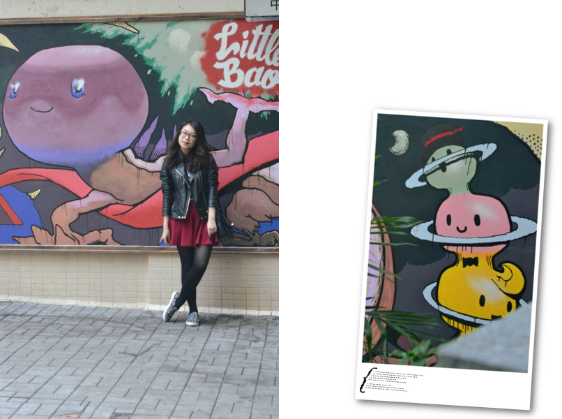 Daisybutter - Hong Kong Fashion and Lifestyle Blog: what i wore, Sheung Wan street art, how to style a leather jacket girlish, how to wear slip-ons