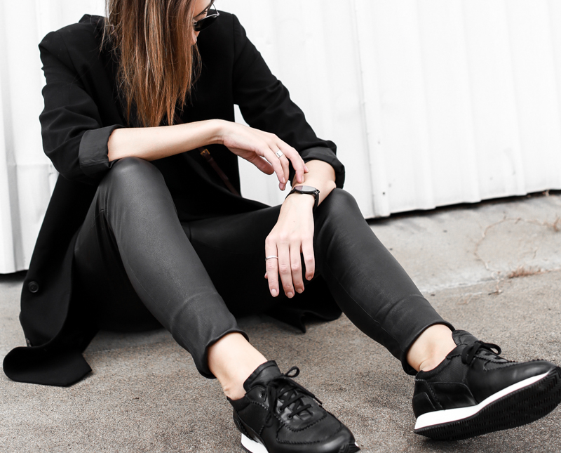 MODERN LEGACY fashion blog street style sneakers leather leggings all black  (1 of 1)