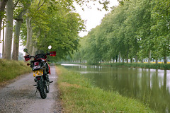 My Kawasaki KLR 650 motorcycle on the banks of the Canal du Midi, Bram Languedoc-Roussillon France 1989 (2)