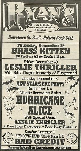 12/31/87 Hurricane Alice/ Leslie Thriller @ Ryan's, St. Paul, MN
