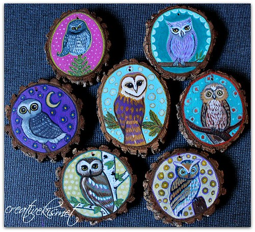 Owl Art Ornaments by Regina Lord