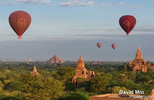 travel mist tourism sunrise temple ruins asia ballon buddhism visit dust angkor pagodas bagan stupas