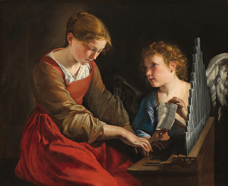 Orazio Gentileschi & Giovanni Lanfranco - Santa Cecilia con un angelo