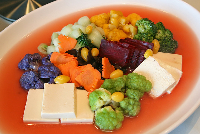 Poached Rainbow Cauliflower and Assorted Vegetables in Superior Broth