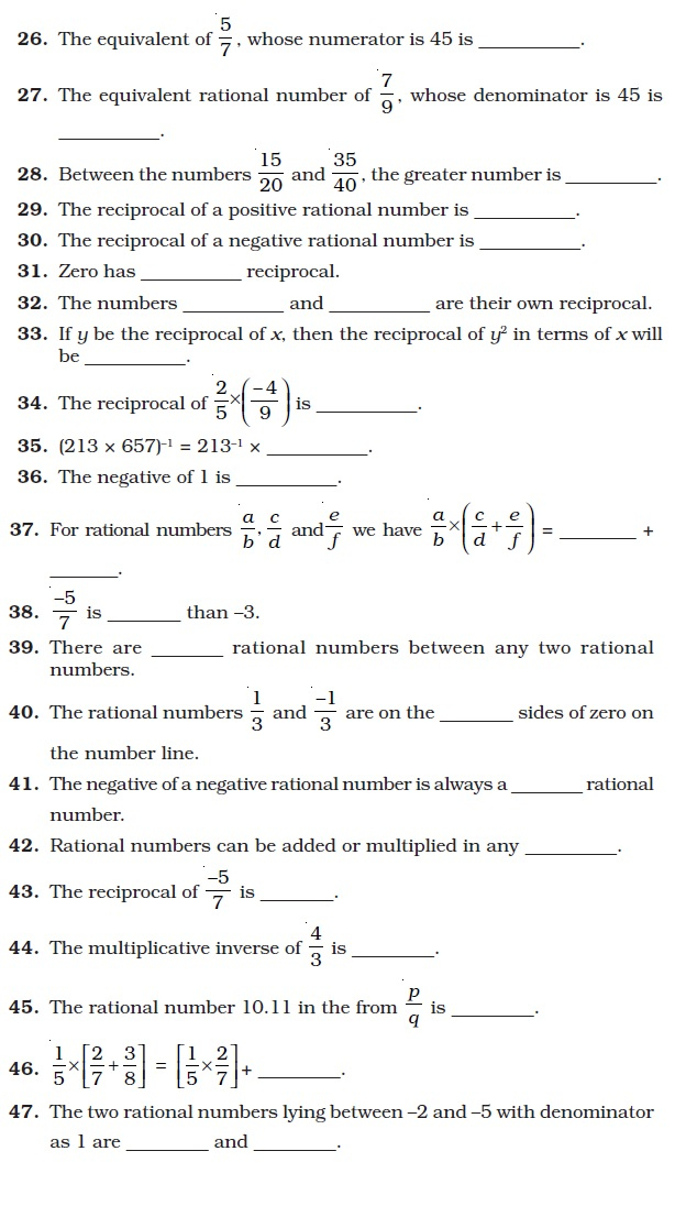 Class 8 Important Questions for Maths Rational Numbers – Rational Numbers Worksheet