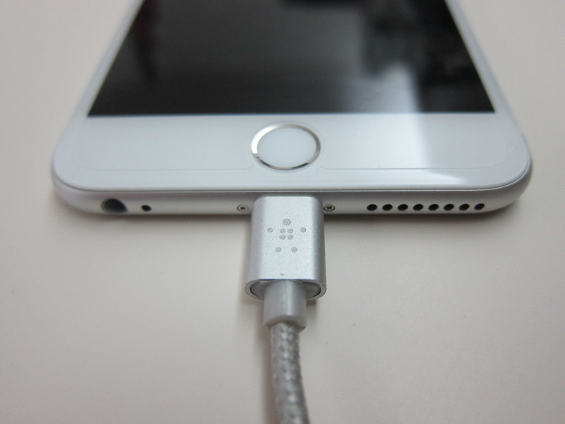 Belkin MIXIT Metallic Lightning to USB ChargeSync Cable (6 Inch) - Silver Plugged Into iPhone 6 Plus