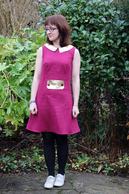 Francoise Dress, Tilly & the Buttons in Purple Wool