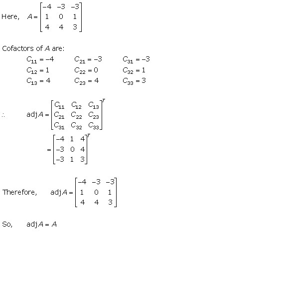 RD Sharma Class 12 Solutions Chapter 7 Adjoint and Inverse of Matrix Ex 7.1 Q4